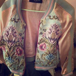 Akira embroidered bomber jacket pink baby blue